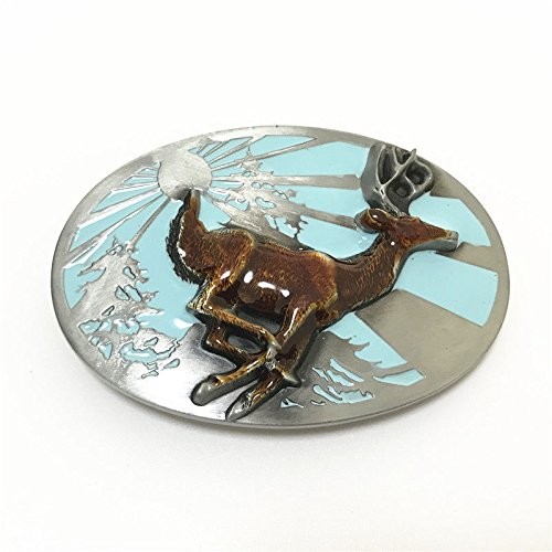 Retro Oval Wild Deer Running Elk Jumping Sunshine Metal Belt Buckle For Leather (Outdoors Knife Wild Native American)