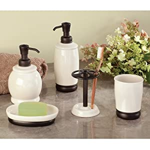 InterDesign York Ceramic Liquid Soap & Lotion Dispenser Pump for Kitchen or Bathroom Countertops, Vanilla/Bronze