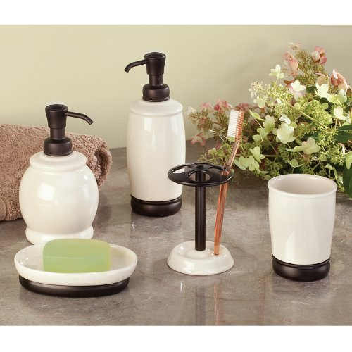 Interdesign York Ceramic Bath Vanity Soap Dish Vanilla Home Garden Bathroom Accessories Dishes