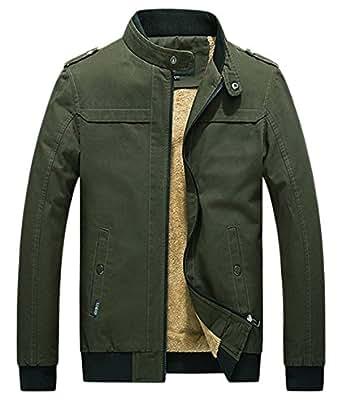 chouyatou Men's Winter Full Zip Heavy-Weight Sherpa Lined Casual Bomber Jacket Small ArmyGreen