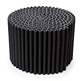 The Leggero Pouffe: more than just a simple seat; it's also a coffee table, night stand, footstool or ottoman (not the storage type). Perfect for outdoors, too — it's weatherproof. Diam. 55 cm, H. 36 cm. Colour: Black.