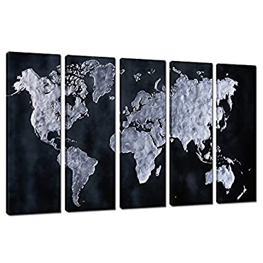 Group World Map Canvas Fine Art,abstract Map Wall Art for Office and Restaurant Decor,modern Stretched and Frame Canvas Artwork Ready to Hang