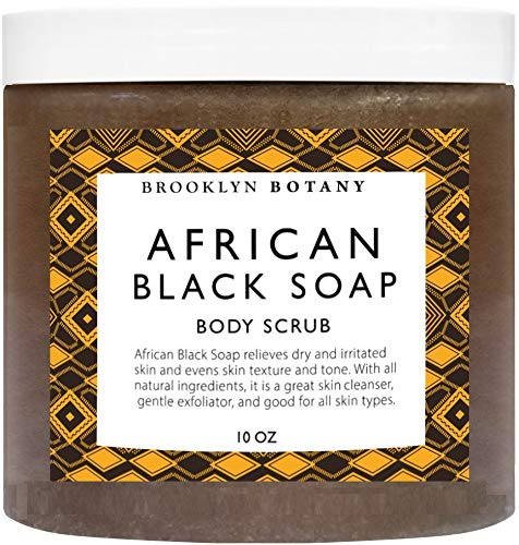 Brooklyn Botany African Black Soap Body Scrub Facial Scrub 10 oz - Shea Butter & Coconut Oil - Eczema Soap Acne Treatment - Exfoliate & Moisturize, Back Acne, Face Scrub, Relieve Dry & Irritated Skin (Best Soap For Acne And Dry Skin)