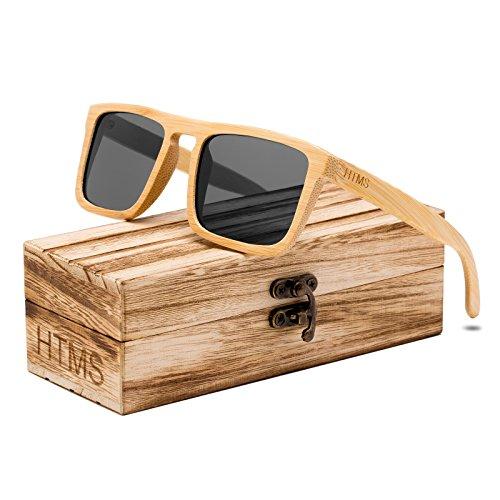 HTMS Bamboo Wood Sunglasses Men Polarized Square Wayfarer Sun glasses Vintage Driving Glasses (Grey Lens/Bamboo - Sunglasses Wood Bamboo