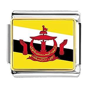 Chicforest Gold Plated Brunei Darussalam flag Bracelet Link Photo Italian Charm