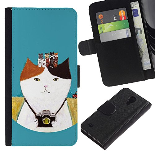 For SAMSUNG Galaxy S4 IV / i9500 / i9515 / i9505G / SGH-i337,S-type® Photo Camera Photography Kitten Cat - Drawing PU Leather Wallet Style Pouch Protective Skin - Sgh Photography