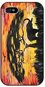 Elephant oil painting, sunset and tree - iPhone 5 / 5s black plastic case / Animals and Nature