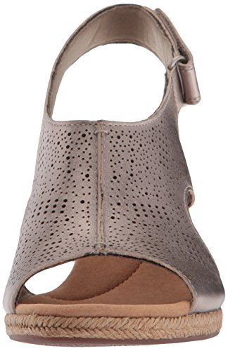 Clarks Women's Lafley Rosen Platform, Pewter Leather Pewter Metallic