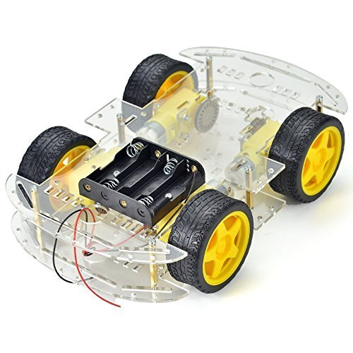Makerfire 4-wheel Robot Smart Car Chassis Kits Car Model with Speed Encoder for Arduino