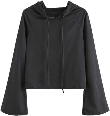 Overdose Nueva Camisa De Mujer Casual Sudadera con Capucha Negra De Manga Larga Sudadera con Capucha Negra Camisa Blusa De Color SóLido Camisa: Amazon.es: Ropa y accesorios