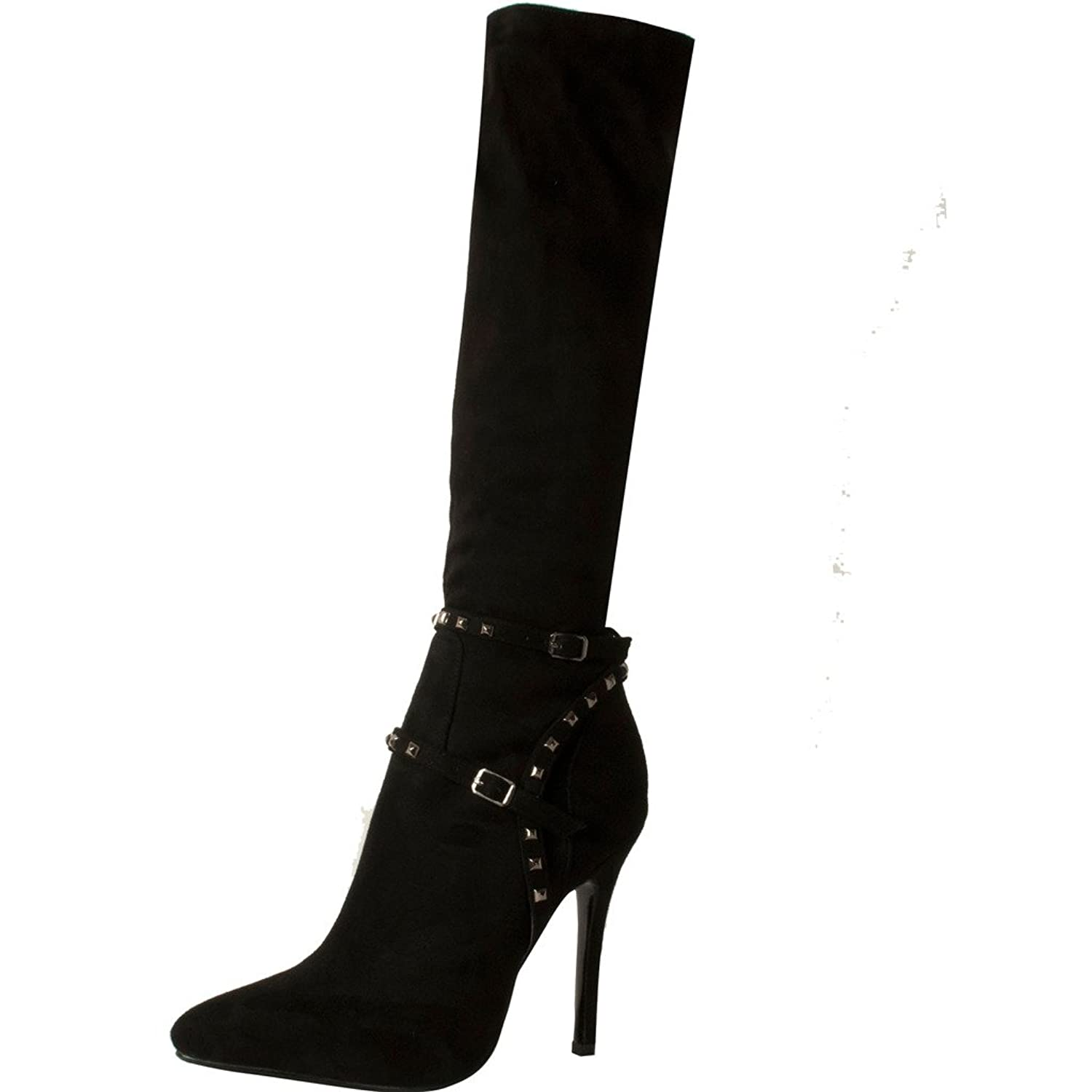 Womens Causually Designer Fashion Sexy Sweet High Heel Rivet Studded Buckle Pointed Toe 9.5CM Stiletto Zipper Boots