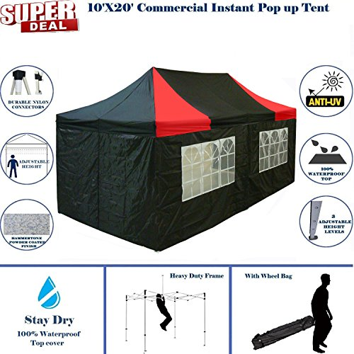 10'x20' Pop up Canopy Wedding Party Tent Instant EZ Canopy Black Red - F Model Commercial Grade Frame By DELTA