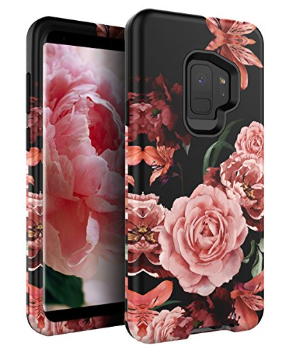 RabeMall Samsung Galaxy S9 Case Unique Pretty Flowers for Girls/Women Anti-Fingerprint Three Layer High Impact Resistant Hybrid Shockproof Protective Cover,Floral Black
