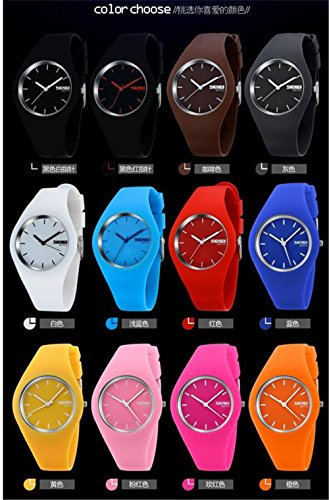 Skmei Fashion Trends Korean Version of The Silica Gel Quartz Ultra-Thin fine Gift Watches(12 Styles) (Pink) by SKMEI (Image #3)