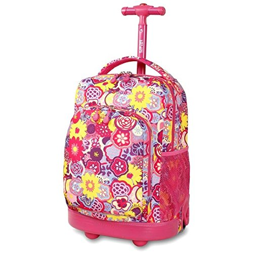 Single Piece Pink Rolloing Briefcase For Kids, Floral Pattern, Fashion Softsided, Aluminum Plastic Polyester Material, Rolling Backpack, Adjustable Strap, Water Resistant,Telescoping Handle