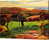 """This 14""""x18"""" premium giclee canvas art print of Fields By The Sea by Paul Gauguin is created on the finest quality artist-grade canvas, utilizing premier fade-resistant archival inks that ensure vibrant lasting colors for years to come. Every detail ..."""