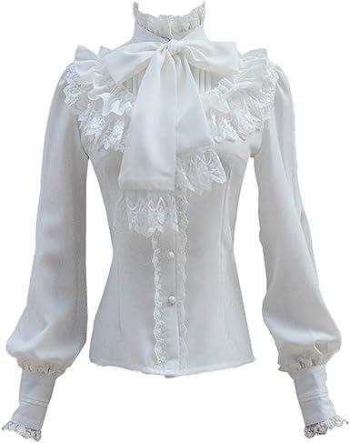 Mujer Camisas de Vintage Victoriana Cuello Alto Volante Lolita Tops Dulce Costura de Encaje Blusa Gótico Manga Larga Camisa de Botones: Amazon.es: Ropa y accesorios