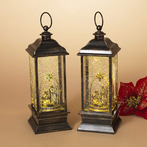 """Gerson 13"""" H B/O Lighted Lantern Spinning Water Snow for sale  Delivered anywhere in USA"""