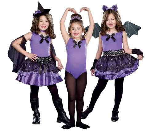 Dreamgirl Girls 3-in-1 Witch / Dark Ballerina / Bat Child Costume Black/purple X-small ()