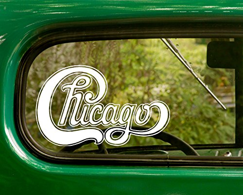 (2 CHICAGO Decal Rock Band Stickers White Die Cut For Window Car Jeep 4x4 Truck Laptop Bumper Rv)