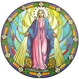 Autocollant pour verre et fenêtre en suncatcher coloré et réutilisable de 15.24 cm avec motif vierge marie