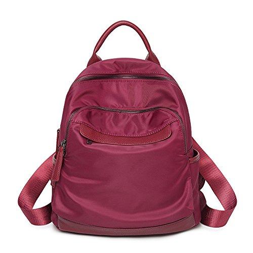 Nylon Nylon Backpack Women's Fashion Fashion Fashion Lightweight Bag Capacity Bag Large Capacity Casual Single School 30 * 32 * 15cm, Burgundy Burgundy
