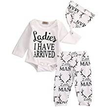 3Pcs Infant Baby Girl Boy Coming Home Outfit Set,Letter Printed Cotton Tops Romper+Litter Man And Deer Printed Long Pants with Hat