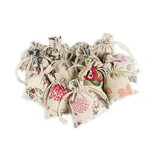 - Floral Burlap Drawstring Gift Bags for Wedding Party Favors Jewelry Linen Bag Candy Pouch-2.7''x4.3'' , Assorted Styles (60)