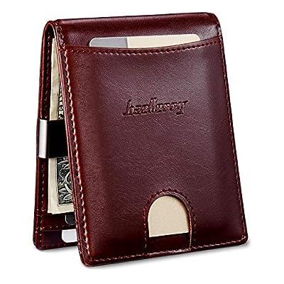 Front Pocket Bifold Wallet With Coin Pocket Minimalist Leather Money Clip Wallet for Men Slim Card Holder