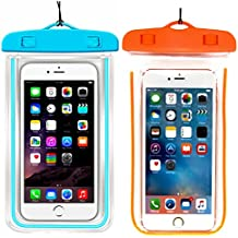 """(2Pack) Universal Waterproof Case, CaseHQ Cellphone Dry Bag Pouch for iPhone 7 6s 6 Plus, SE 5s 5c 5, Galaxy s8 s7 s6 edge, Note 5 4,LG G6 G5,HTC 10,Sony Nokia up to 6.0"""" diagonal-blue+orange"""