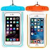 (2Pack) Universal Waterproof Case, CaseHQ Cellphone Dry Bag Pouch for iPhone 7 6s 6 Plus, SE 5s 5c 5, Galaxy s8 s7 s6 Edge, Note 5 4,LG G6 G5,HTC 10,Sony Nokia up to 6.0'' Diagonal-Blue+Orange