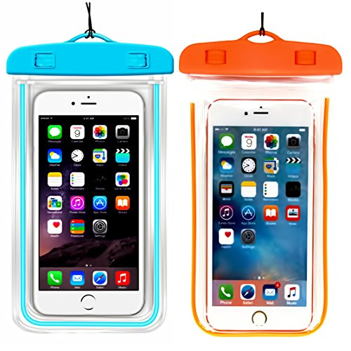 (2Pack) Universal Waterproof Case, CaseHQ Cellphone Dry Bag Pouch for iPhone 7 6s 6 Plus, SE 5s 5c 5, Galaxy s8 s7 s6 Edge, Note 5 4,LG G6 G5,HTC 10,Sony Nokia up to 6.0