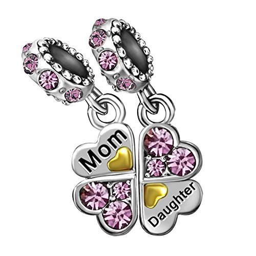 T50Jewelry Heart Mom Mother Love Daughter Birthstone Purple June Charm Beads For Bracelets