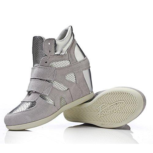 Btrada Femmes Wedge Casual Chaussures De Course En Plein Air Lace Up Haute Top Fashion Sneaker Gris