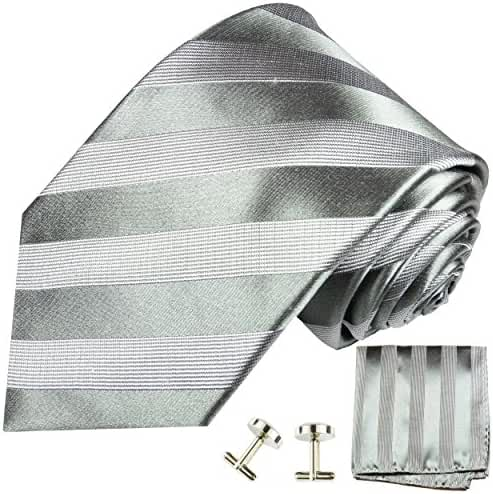 Paul Malone Silk Tie, Handkerchief and Cufflinks, Gray