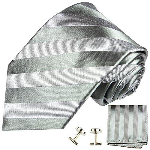 Extra Long Silk. Tie, Handkerchief and Cufflinks, Gray by Paul Malone