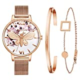 Kaifanxi Women's Quartz Wristwatch Pearl White Dial 3D Butterfly Design with Plain Flowers Sapphire Crystal Glass and Dark Champagne Classic Stainless Steel Band Gift Bracelet for Ladies (Rose Gold)