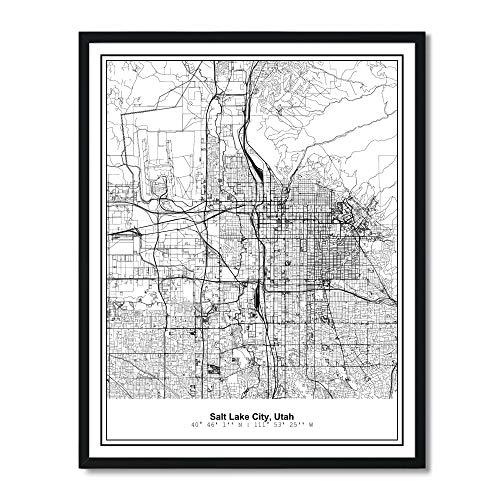 Susie Arts 11X14 Unframed Salt Lake City Utah Metropolitan City View Abstract Street Map Art Print Poster Wall Decor V294