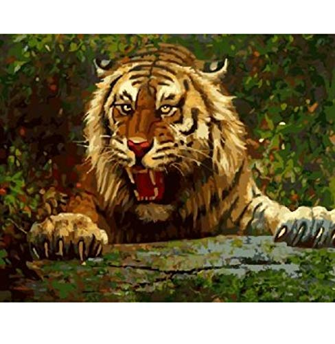 CYKEJISD Severe Tiger with Open Mouth Acrylic Paint by Numbers Oil Painting Gift Coloring by Numbers Picture On Wall Decor