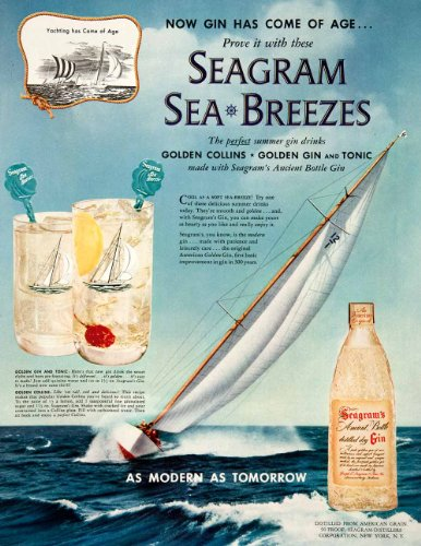 1952-ad-seagrams-distilled-dry-gin-tonic-collins-yachting-ancient-bottle-water-original-print-ad