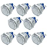 FICBOX 8pcs 16mm/0.63inch Metal Momentary Stainless Push Button Switch for Car RV Truck Boat
