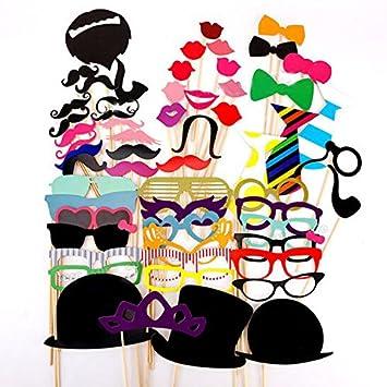 58pcs Juego de Accesorios de Photocalls DIY Photo Booth Atrezzo Incluyendo Máscaras Bigotes Gafas Pelo Arcos Sombreros Labios Rojos Pajaritas Para ...