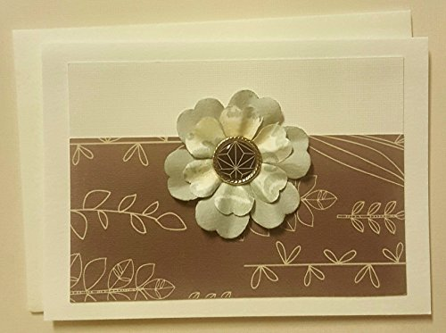 Greeting Card Mulberry Paper Flowers with Jewel Gold Enamel Brad Blank Inside 1 Pack