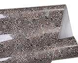 Mullsan Dark Brown Marble Gloss Vinyl Film Contact Paper 24''x79'' Roll