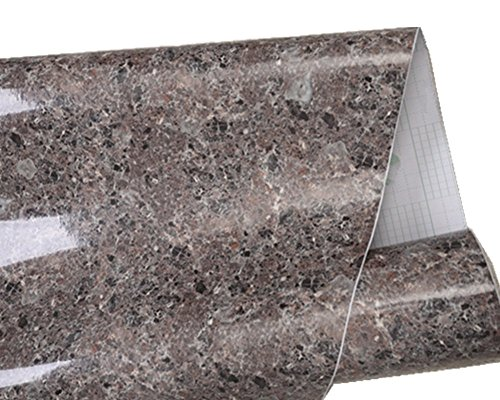 Review Brown Granite Look Marble Gloss Film Vinyl Self Adhesive Counter By Moyishi by Moyishi