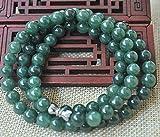 "100% Natural Green Jade Jadeite Necklace Men or Women Necklace Bead Necklace 20"" Jade Bracelet Jewelry"