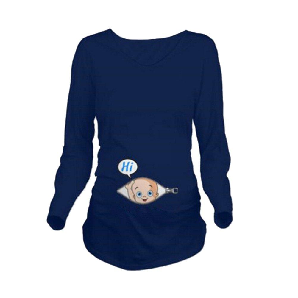 Q.KIM T-Shirt de Maternit/é Femme Manches Longues de maternit/é Motif Grossesse Amusant Humour imprim/é