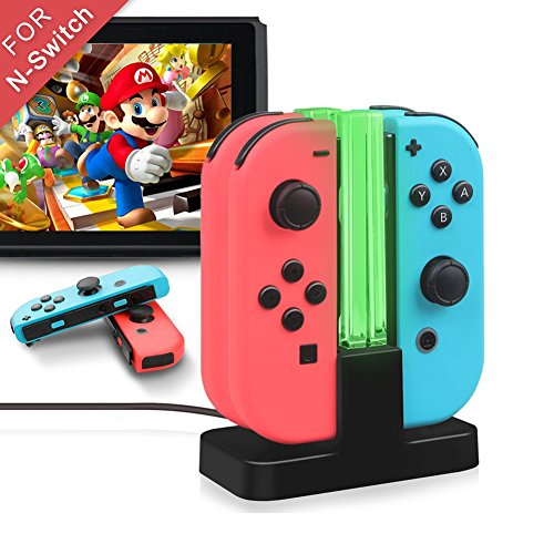 Nintendo Switch Joy-Con Charger, Alotm Joy-con Charging Dock with Pro Controller Charger Stand + TYPE-C Charging Port + LED Indicator for Nintendo Switch