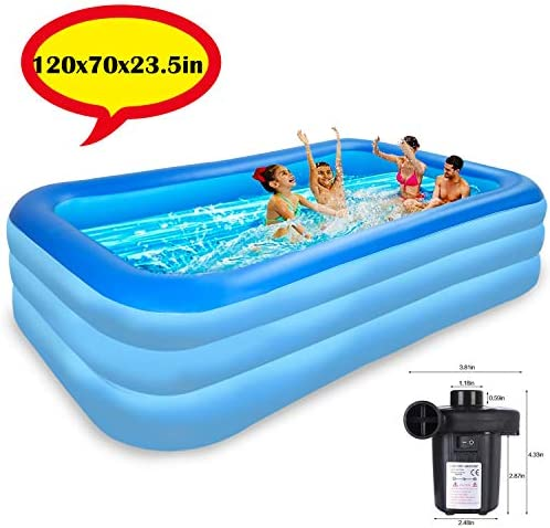 Raoccuy Above Ground Pool Inflatable Swimming – Outdoor Inflatable Kiddie Pools120x70x23.5in Family Swimming Pool, Swim Center Garden, Backyard,PVC Thickened Abrasion Resistant