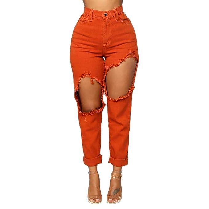 Lazzboy Moda Mujer Estirar los Pantalones Vaqueros de ...